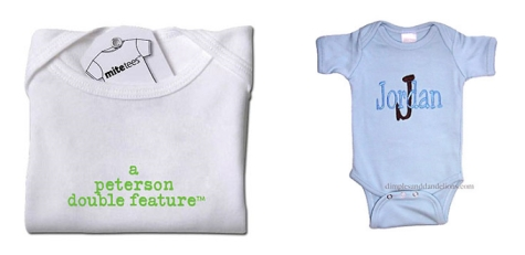 Baby shower gifts for twins baby gift ideas and guide ever look at a set of twins and wonder how their parents can tell their twins apart personalized baby clothing of course well thats just one way the rest negle Choice Image
